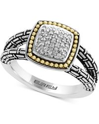 Effy Collection - Balissima By Effy® Diamond Cluster Ring (1/5 Ct. T.w.) In Sterling Silver & 18k Gold - Lyst