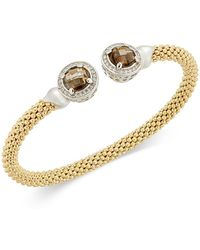 Macy's - Smoky Quartz (4-3/4 Ct. T.w.) & Diamond (1/3 Ct. T.w.) Mesh Cuff Bracelet In 14k Gold-plated Sterling Silver - Lyst
