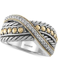 Effy Collection - Diamond Two-tone Crisscross Ring (1/10 Ct. T.w.) In Sterling Silver & 18k Gold - Lyst