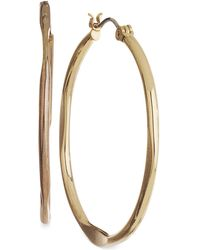 "Nine West - Earrings, Gold-tone 1-1/2"" Medium Hoop Earrings - Lyst"