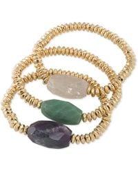 ABS By Allen Schwartz - Gold-tone 3-pc. Beaded Stone Stretch Bracelets Set - Lyst