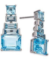 Macy's - Blue Topaz Ladder Dangle Earrings (7 Ct. T.w.) In Sterling Silver - Lyst