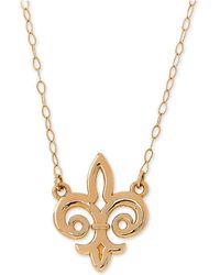 """Macy's - Fleur De Lis 17"""" Pendant Necklace In 10k Gold - Lyst"""
