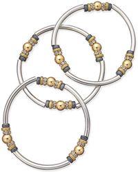 Nine West - Tri-tone 3-pc. Set Metal Bangle Decorated Stretch Bracelets - Lyst