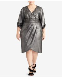 24fabebd0fb Lyst - RACHEL Rachel Roy Plus Size Cold-shoulder Metallic Wrap Dress ...