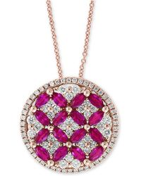 """Effy Collection - Amoré By Effy® Certified Ruby (1-1/2 Ct. T.w.) & Diamond (7/8 Ct. T.w.) 18"""" Pendant Necklace In 14k Rose Gold - Lyst"""