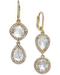 Kate Spade - Gold-tone Crystal Asymmetrical Double Drop Earrings - Lyst