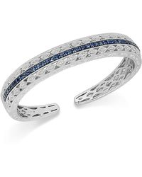 Macy's - Sapphire (1-5/8 Ct. T.w.) And Diamond (1/10 Ct. T.w.) Bangle Bracelet In Sterling Silver - Lyst