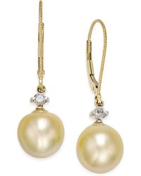 Macy's | Cultured Baroque Golden South Sea Pearl (9mm) And Diamond (1/6 Ct. T.w.) Drop Earrings In 14k Gold | Lyst