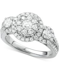 Macy's - Diamond Halo Cluster Ring (1-1/2 Ct. T.w.) In 14k White Gold - Lyst