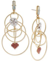 """BCBGeneration - Gold-tone Crystal Flower-child Extra Large 4"""" Multi-hoop Drop Earrings - Lyst"""