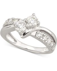 Macy's - Diamond Two-stone Engagement Ring (1-1/2 Ct. T.w.) In 14k White Gold - Lyst