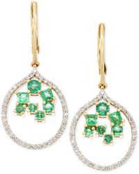 Rare Featuring Gemfields - Certified Emerald (7/8 Ct. T.w.) And Diamond (3/8 Ct. T.w.) Scatter Drop Earrings In 14k Gold - Lyst