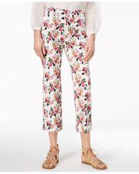 Marella - Cotton Blend Floral-print Slim Ankle Pants - Lyst