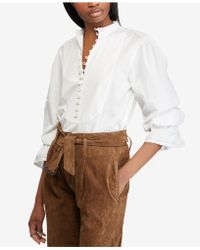 Polo Ralph Lauren - Cotton Broadcloth Top - Lyst