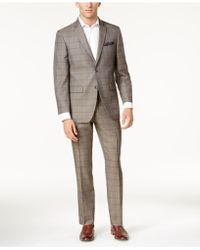 Perry Ellis - Men's Slim-fit Taupe Windowpane Suit - Lyst