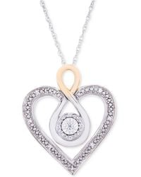 Macy's - Diamond Two-tone Heart Necklace (1/10 Ct. T.w.) In Sterling Silver And 10k Gold - Lyst