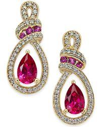 Macy's - Certified Ruby (1-1/3 Ct. T.w.) And Diamond (1/4 Ct. T.w.) Drop Earrings In 14k Gold - Lyst