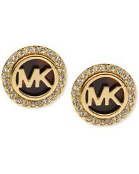 Michael Kors - Gold-tone Tortoise And Pave Logo Stud Earrings - Lyst