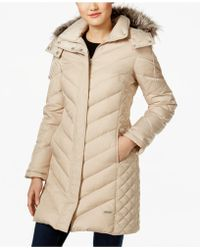 Kenneth Cole - Faux-fur-trim Chevron Quilted Down Coat - Lyst