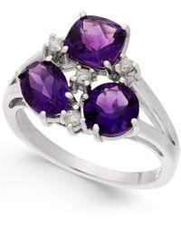 Macy's - Amethsyt (2-1/2 Ct. T.w.) & Diamond (1/10 Ct. T.w.) Split Shank Ring In Sterling Silver - Lyst