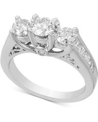 Macy's - Diamond Three Stone Engagement Ring (2 Ct. T.w.) In 14k White Gold - Lyst