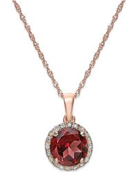 Macy's - Garnet (1-1/2 Ct. T.w.) And Diamond Accent Pendant Necklace In 14k Rose Gold - Lyst