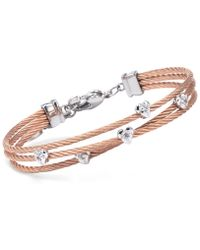 Charriol | Women's Malia White Topaz-accent Two-tone Pvd Stainless Steel Cable Bangle Bracelet | Lyst