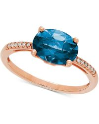 Macy's - London Blue Topaz (2-1/2 Ct. T.w.) & Diamond Accent Ring In 14k Rose Gold - Lyst