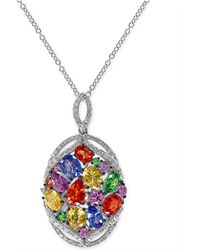 Effy Collection - Multi-stone (4 Ct. T.w.) And Diamond (1/3 Ct. T.w.) Pendant Necklace In 14k White Gold - Lyst