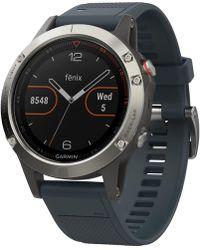 Garmin - Men's Fenix 5 Blue Silicone Convertible Strap Smart Watch 47mm 010-01688-01 - Lyst
