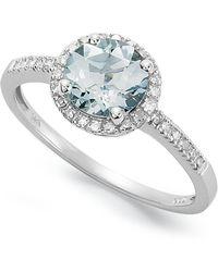 Macy's - 14k White Gold Ring, Aquamarine (1 Ct. T.w.) And Diamond (1/8 Ct. T.w.) Ring - Lyst