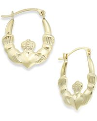 Macy's - Claddagh Hoop Earrings In 10k Gold - Lyst