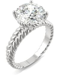 Charles & Colvard - Moissanite Round Twisted Shank Ring (2-3/4 Ct. Tw. Diamond Equivalent) In 14k White Gold - Lyst