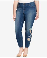Jessica Simpson - Trendy Plus Size Embroidered Skinny Jeans - Lyst
