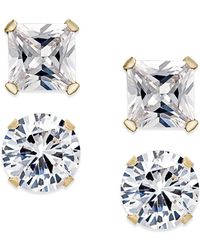 Macy's - Cubic Zirconia 2-pc. Stud Earrings Set In 10k Gold - Lyst