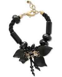 RACHEL Rachel Roy - Gold-tone Beaded Flower Braided Cord Statement Bracelet - Lyst