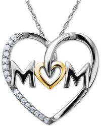 Macy's - Mom Diamond Heart Pendant In Sterling Silver And 14k Gold (1/10 Ct. T.w.) - Lyst