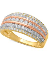 Macy's - Diamond Tri-color Multi-row Statement Ring (1 Ct. T.w.) In 14k Gold, Rose Gold & White Rhodium-plate - Lyst