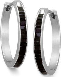 Macy's - Sterling Silver Earrings, Black Diamond Baguette Hoop Earrings (1 Ct. T.w.) - Lyst