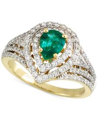Rare Featuring Gemfields - Certified Emerald (1/2 Ct. T.w.) And Diamond (5/8 Ct. T.w.) Ring In 14k Gold - Lyst