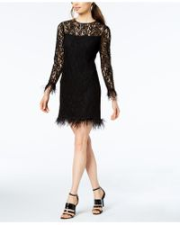 Calvin Klein - Feather-trimmed Lace Sheath Dress - Lyst
