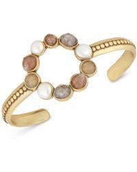 Lucky Brand - Gold-tone Druzy Stone & Imitation Pearl Circle Cuff Bracelet - Lyst