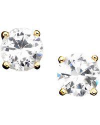 Giani Bernini - 18k Gold Over Sterling Silver Cubic Zirconia Stud Earrings (2 Ct. T.w.) - Lyst