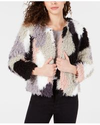 1.STATE - Patchwork Curly Faux-fur Cropped Coat - Lyst