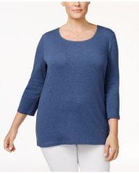 2a255ee13ea Lyst - Karen Scott Plus Size Cotton Scoop-neck T-shirt