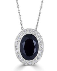"Macy's - Onyx (18 X 13mm) & Diamond (1/10 Ct. T.w.) 18"" Pendant Necklace In Sterling Silver - Lyst"
