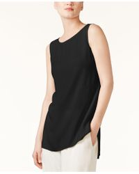 Eileen Fisher - High-low Silk Shell - Lyst
