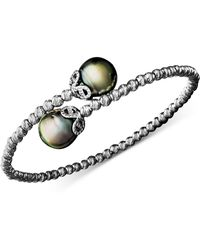 Macy's - Pearl Bracelet, Sterling Silver Cultured Tahitian Pearl (9mm) And Sparkle Bead Cuff - Lyst