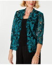 361b2986b3426 Alex Evenings - Embroidered Mesh Jacket   Top Set - Lyst